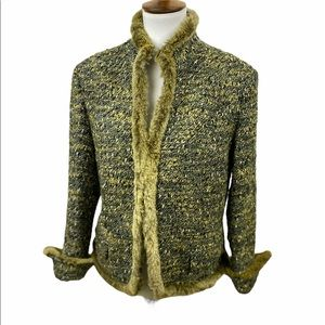 Lafayette 148 Fur Trimmed Boucle Fitted Jacket
